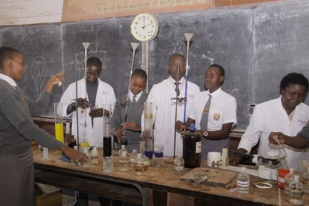 Chemistry students in a practical